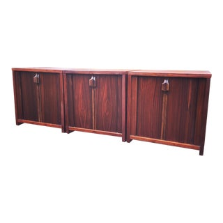 Mid Century Walnut Cabinets With Tambour Doors - Set of 3