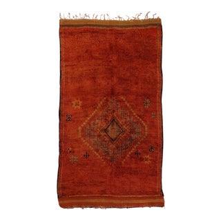 Vintage Berber Moroccan Rug with Tribal Design, Vermilion Color