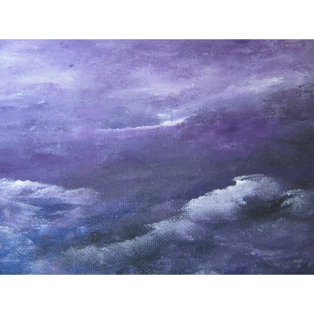 Image of Acrylic Seascape of Mountains & Waves Painting