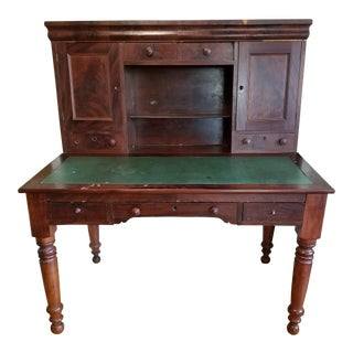 Antique Americana Wooden Green Top Writing Desk