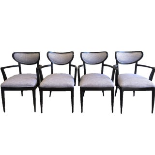 Mid-Century Crescent Back Dining Chairs - Set of 4