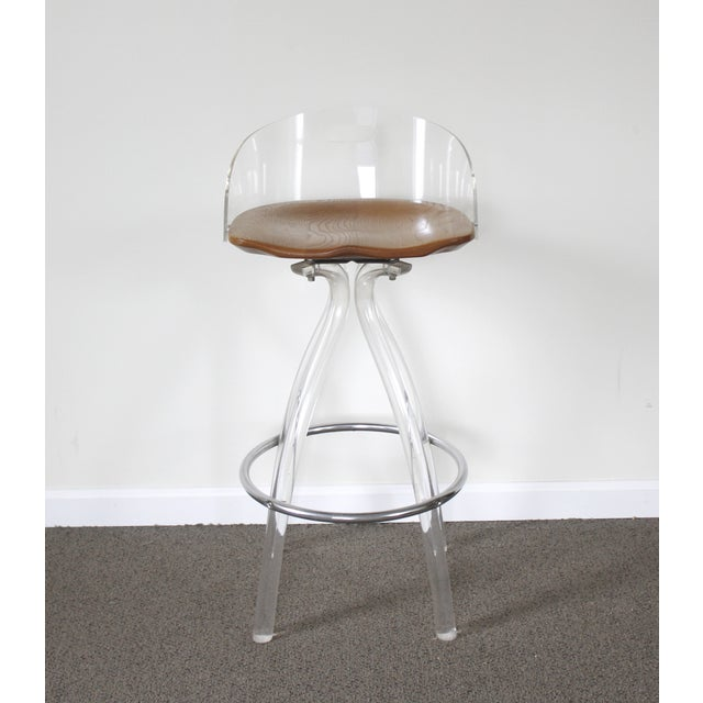 Lucite & Wood Bar Stool - Image 2 of 9