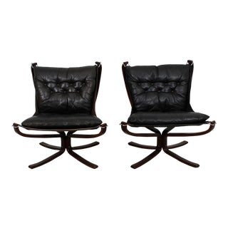 Sigurd Ressel Falcon Rosewood & Leather Lounge Chairs - A Pair