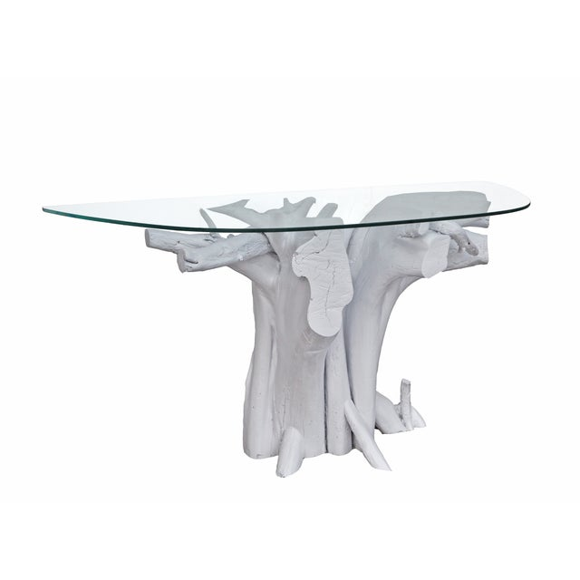 White Driftwood Coffee Table: Vintage White Lacquered Driftwood Console Table