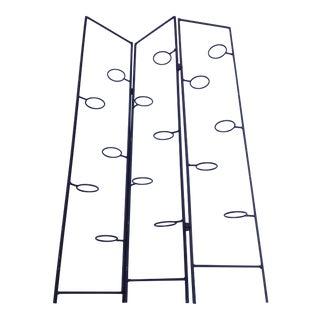 Black Wrought Iron Candle Holder Folding Panel