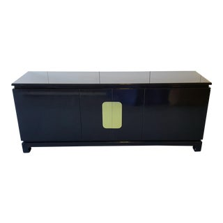 1970's Black Lacquer and Brass Credenza