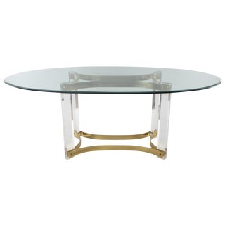 1970s Lucite & Glass Dining Table