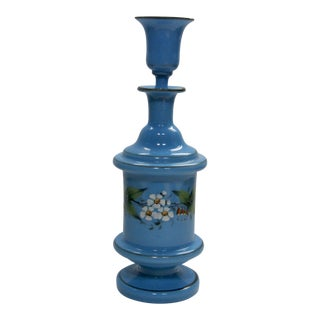 Antique French Hand Painted Blue Opaline Decanter