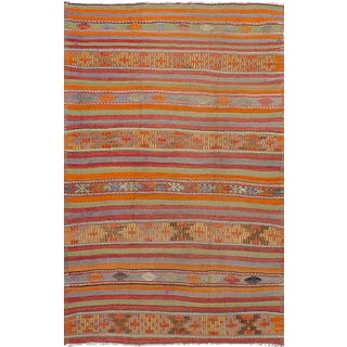 Orange Wool Pile Turkish Rug - 5′1″ × 8′1″