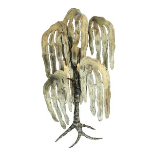1970s Torch-Cut Brutalist Brass Tree Sculpture