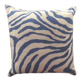 White & Blue Zebra Pillow