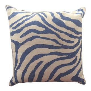 White & Blue Zebra Pillow