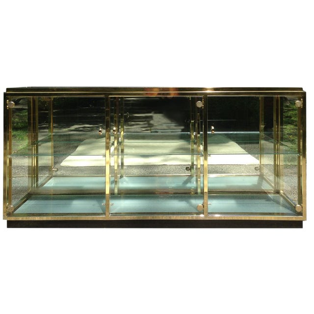 Lighted Brass & Glass Credenza - Image 1 of 10