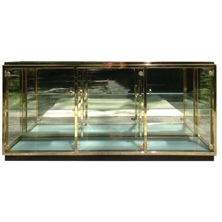 Lighted Brass & Glass Credenza