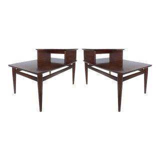 Lane Altavista Walnut Side or Bedside Tables-a Pair
