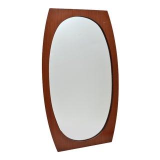 Oval Danish Modern Walnut Wall Mirror