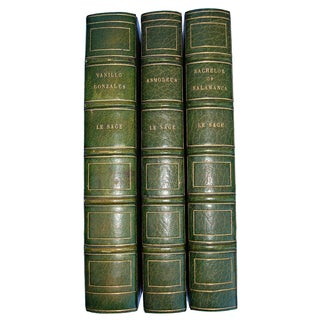 English Green Leather Bound Books - Set of 3