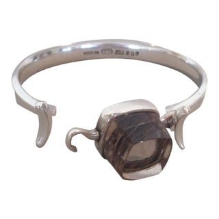 Georg Jensen Cuff with Rutilated Quartz by Vivianna Torun No. 207
