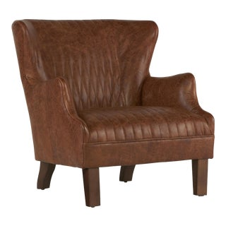 Retro-Inspired Leather Wingback Chair