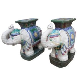 Vintage Elephant Garden Stool - Pair