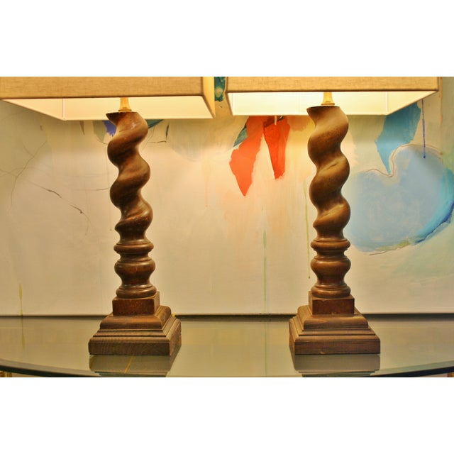 Image of Barley Twist Table Lamps - A Pair