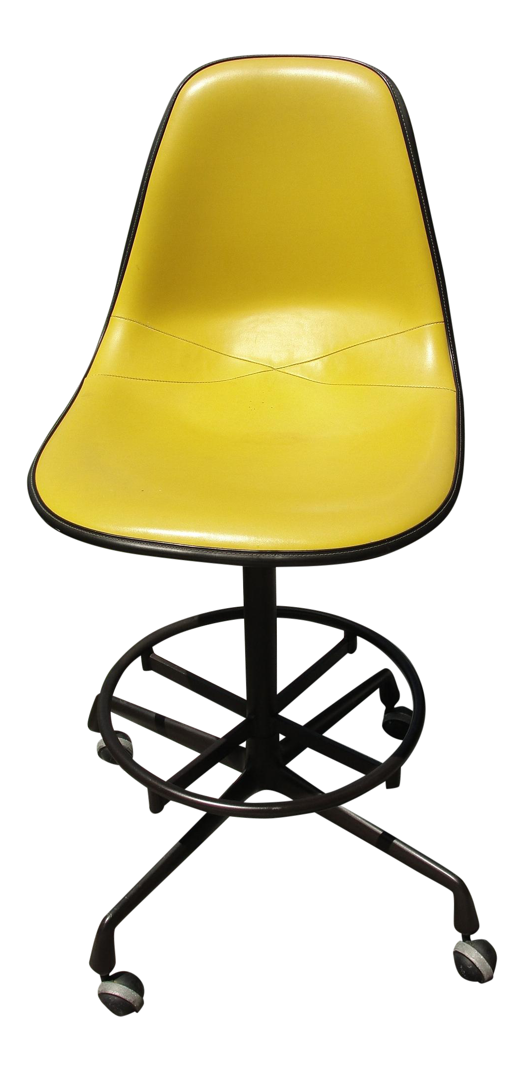 midcentury herman miller yellow bar stool