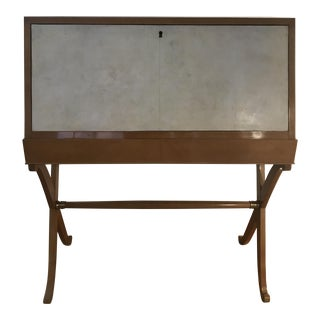 Contemporary Wood Secretary Desk With Key