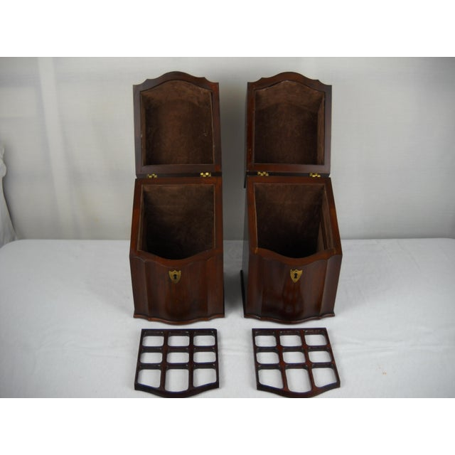 Georgian-Style Inlaid Knife Boxes - A Pair - Image 5 of 10