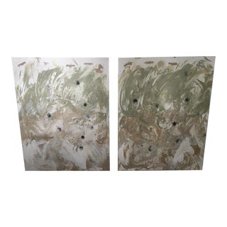 Set of 2 Original Abstract Modernist Paintings on Canvas