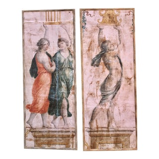 Neoclassical Painted Canvas Panels- A Pair