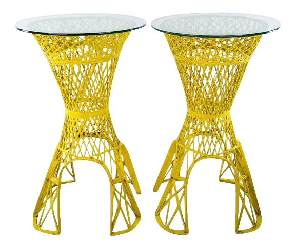 1960s vintage mid century modern yellow faux wicker glass top side tables a pair