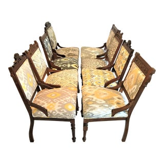 Uniquely Matched / Mismatched Ikat Upholstered Dining Chairs - Set of 8