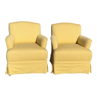 Yellow Skirted Club Chairs - A Pair