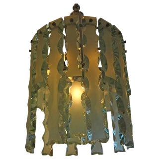 Circa. 1960 Italian Fontana Arte Style Frosted Glass Chandelier