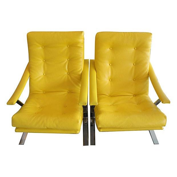 Yellow Naugahyde Armchairs - A Pair - Image 3 of 6