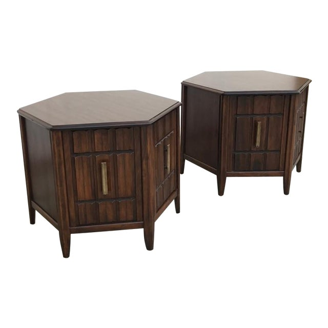 Mersman Mid Century Hexagon Brutalist-Style Side Tables or Nightstands - a Pair - Image 1 of 8