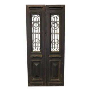 Antique Indian Wood & Wrought Iron Doors - A Pair