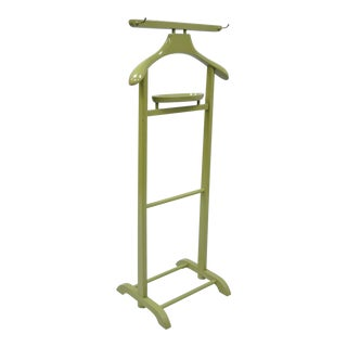Vintage Mid-Century Modern Green Wood Clothing Valet Rack Stand Clothes Suit Hanger