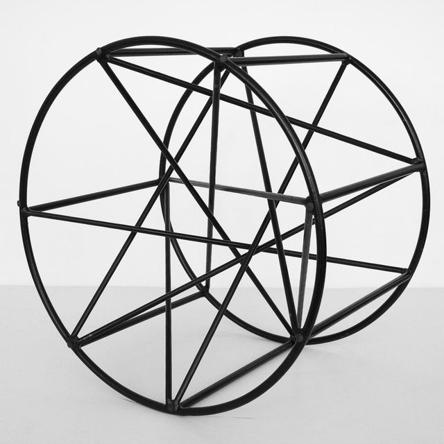 Black Steel Spokes Sculptural Glass Coffee Table - Image 8 of 9