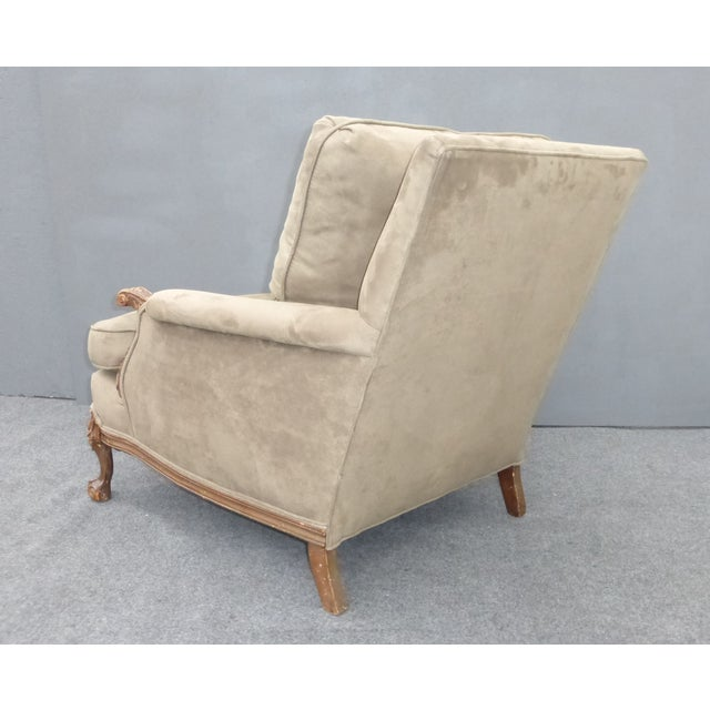 Image of French Carved Wood Goose Down Arm Chair