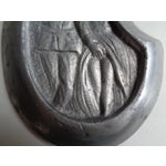 Image of Vintage Soldier and Damsel Pewter Ashtray, With Surprise