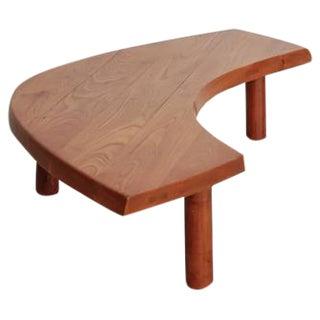 Pierre Chapo Boomerang Shaped Elm Coffee Table, France, 1960s