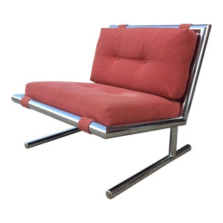 Mid-Century Modern Chrome Cantilevered Sled Chair