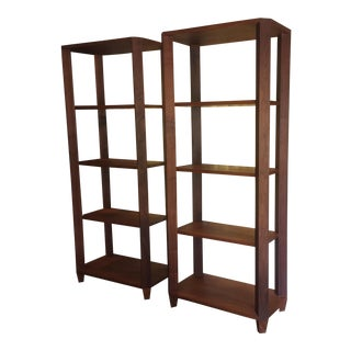 Adjustable Shelf Walnut Etageres - A Pair