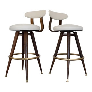 Mid-Century Modern Bentwood Bar Stools - A Pair