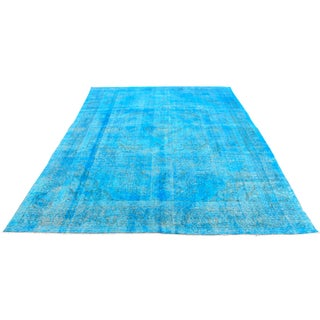 Vintage Overdyed Blue Turkish Rug - 9′6″ × 13′1″