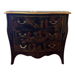 Drexel Chinoiserie Black Lacquer Chest of Drawers