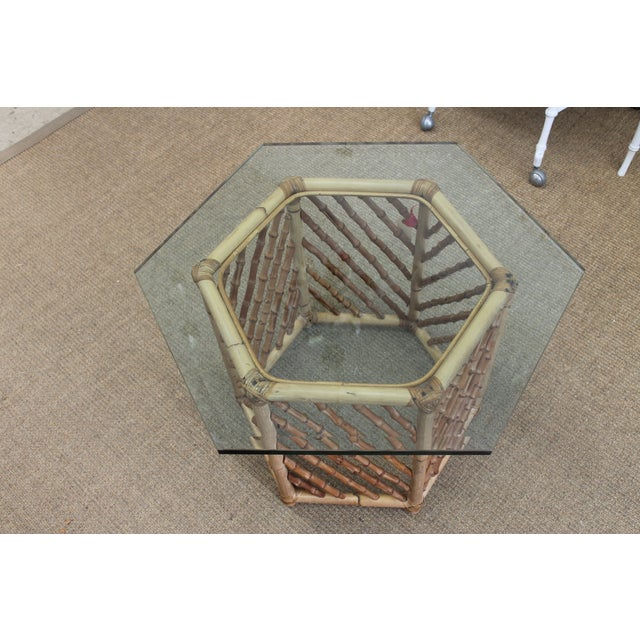 Bamboo Glass Top Table - Image 3 of 5
