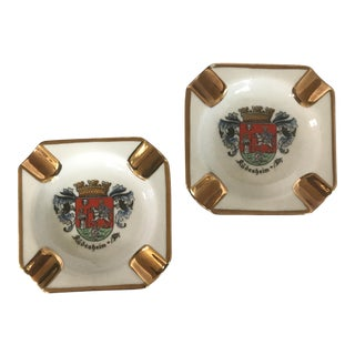 Gilded European Souvenir Porcelain Ashtrays - a Pair
