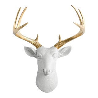 White & Gold Antler Faux Buck Wall Bust